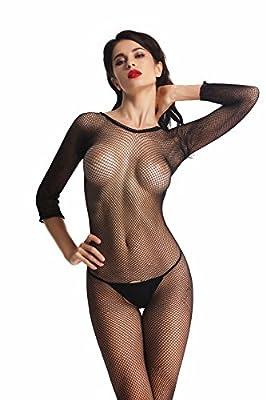 Amoretu Womens Long Sleeve Fishnet Bodystocking Crotchless Classic Body Stockings
