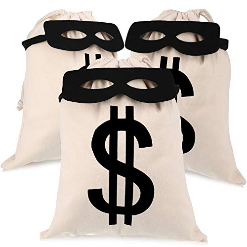 Party Pieces Halloween (6 Pieces Bandit Costume Set Canvas Money Bags and Black Eye Masks for Halloween Party Favors (Size 2, 6)