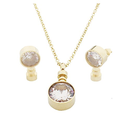 (Think Positive Women's Stainless Steel Fashion Jewelry Sets Pendant Chain Necklace Stud Earrings Gold Plated)