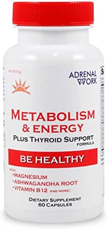 Natural Energy & Metabolism Booster Pills: Metabolism Boosting Formula for weight loss, adrenal support and organic thyroid supplement for Men & Women, with magnesium and ashwagandha - 60 Capsules