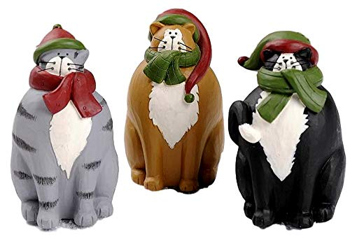Blossom Bucket Christmas Kitty Cats in Scarves Scarf Set of 3 Resin ()