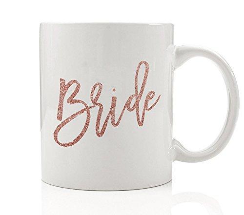Pink Bride Mug, 11 oz Coffee Mug, Faux Glitter Bride Coffee Mug, Wedding Brides Coffee Cups, Bridal Party Gifts DM0016 (11 Mug Pink Ounce)