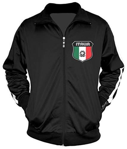 Amdesco Men's Italian Pride, Italia Italy Track Jacket, Black w/One Stripe Medium