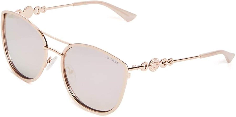 Genuine GUESS GUF254-GLD-2F Women Aviator Sunglasses Green Mirror Lens ROSE TONE