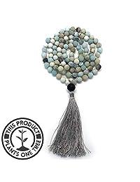 Aspen & Eve Earth Malas 108 Bead Japa Mala Necklace - 8mm Stone Beads + Guru Bead - Tibetan Buddhist Jewelry for Mindfulness