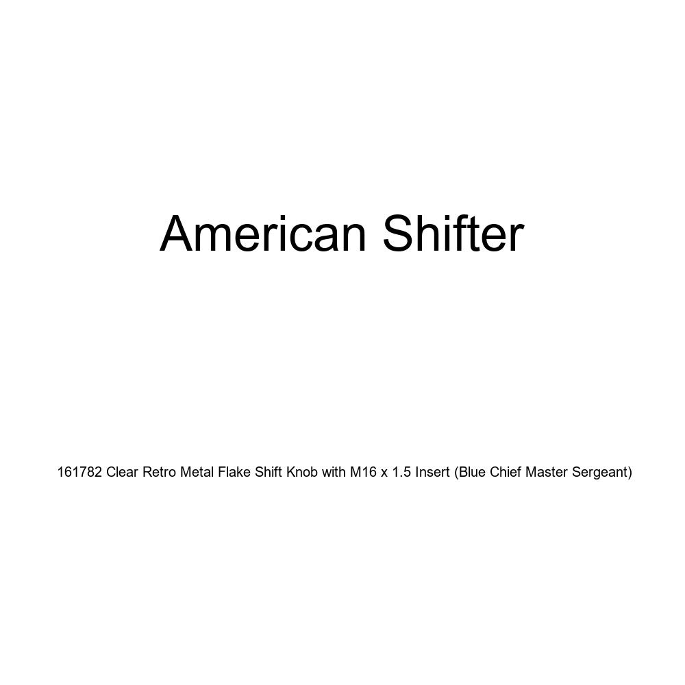 American Shifter 161782 Clear Retro Metal Flake Shift Knob with M16 x 1.5 Insert Blue Chief Master Sergeant