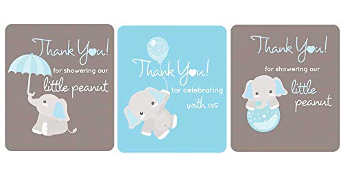 Gray Elephant Lip Balm Labels Baby Shower Favors Set of 45 (Light Blue)