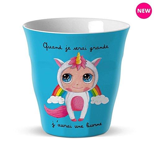 vaso melamina Quand Je serai grande je serai grande J aurai una unicornio Label Tour