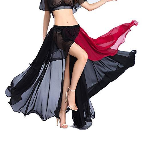 ROYAL SMEELA Black Chiffon Fairy Belly Dance Skirt for Women Tribal Belly Dancing Skirts High Split, One Size, 3 Colors