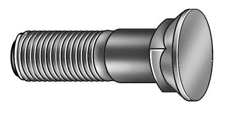 Plow Bolt, YZ, 5/8-11x2, Gr 8, PK10 by GRAINGER APPROVED