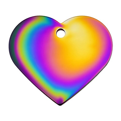 Quick-Tag Large Rainbow Heart Personalized Engraved Pet ID Tag