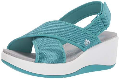 Aqua wedge sandals for women
