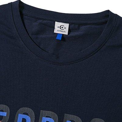 18CRR81 CERRUTI Herren T-Shirt Baumwolle Shortsleeve Unifarben mit Motiv, Größe: XXL, Farbe: Blau