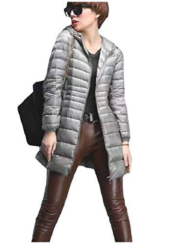 size Donna Ultraleggeri Grigio Plus Full Piumini Zip Outwear Da Comprimibile Con Xinheo Cappuccio qU8wxfv