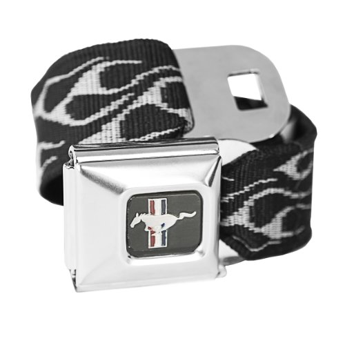 Ford Belt Mustang Belt Seat (Silver Flames Ford Mustang Seatbelt Buckle Fashion Belt - Officially Licensed)