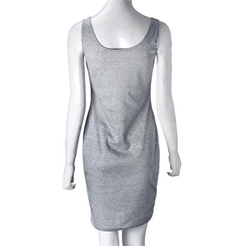Transer ® 1PC Womens Èlegant gris O-Neck Vintage Retro Party Cocktail Bodycon gaine genou Taille Robe Gris(S-XL)