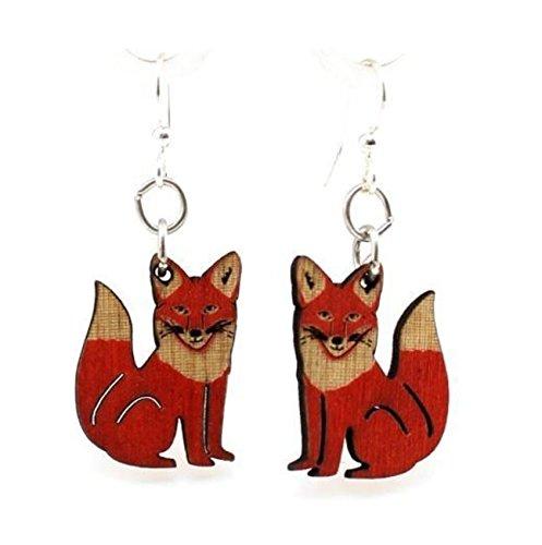 (Green Tree Jewelry Red Fox Wooden Lasercut Earrings #1292 )