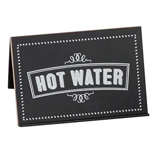 TableTop King 3047-3 Chalkboard Beverage Sign with ''Hot Water'' Print - 3'' x 2'' x 2