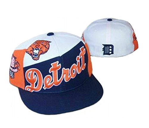 Detroit Tigers FALL Fitted Size 7 1/4 Cooperstown Collection Hat Cap - Navy Blue & Orange