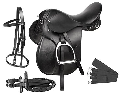 PREMIUM BLACK LEATHER ENGLISH ALL PURPOSE JUMPING HORSE SADDLE TACK STARTER PACKAGE SET 16 17 18 (16)