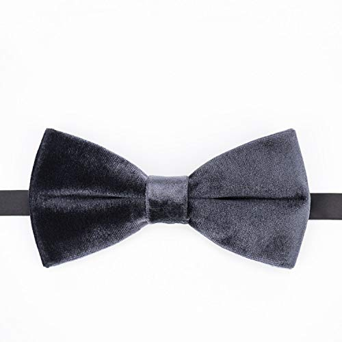 JYEMDV Textured Velvet Dark Gray Handmade Necktie Casual Wedding Bow Neckcloth Fashion Alloy Plated Buckle Neckwear