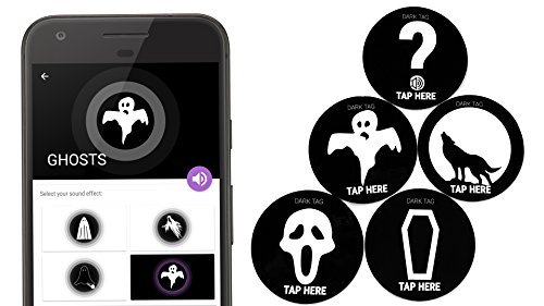 Scary SOUND Stickers (5 NFC tags) - Recordable voice - Halloween practical joke prank - surprising HORROR effects, screams ghost zombie - Campfire story - works with All NFC Enabled -