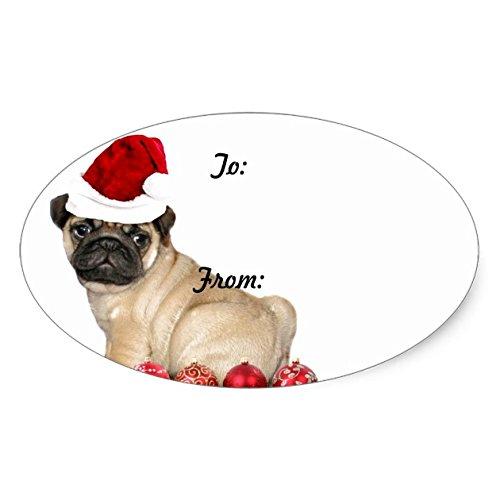 Christmas pug dog gift tag stickers - Sticker Graphic - Beware of Dog Lover Sticker Sign for Walls Windows Bumper Sticker Dog Sign Dog Lover Decor Dog Window Graphics