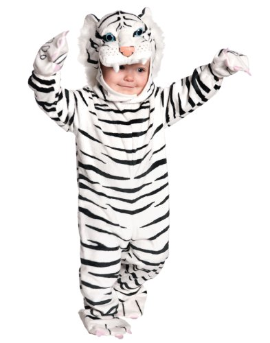 Underwraps Baby's Tiger Costume Jumpsuit, White Small (6-12 Months) ()
