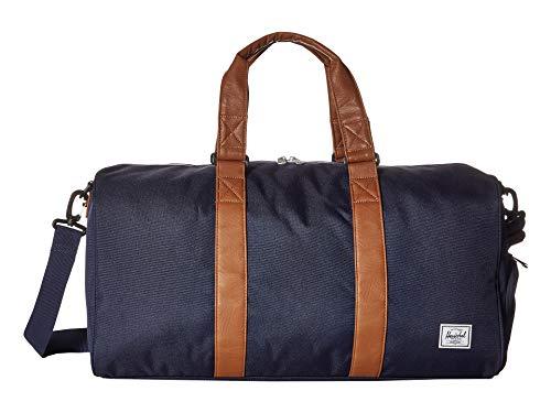 (Herschel Novel Mid-Volume Duffel Bag Peacoat/Tan Synthetic Leather One Size)