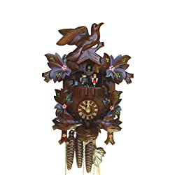13 Cuckoo Clock with Moving Birds and Hand-Painted Flowers
