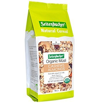 Seitenbacher Muesli #21 Organic Oat and Barley Muesli with Cashews and Almonds, Wheat Free, 3 pack 16-Ounce bag, made in Germany