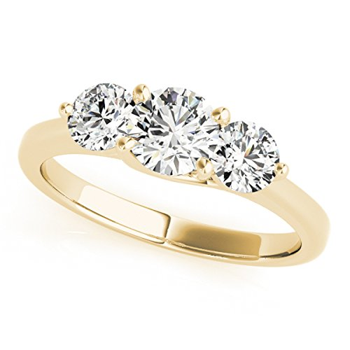 MauliJewels 1/4 Carat Three Stone Daimond Enagagement Ring Crafted in 14k Solid Yellow Gold ()