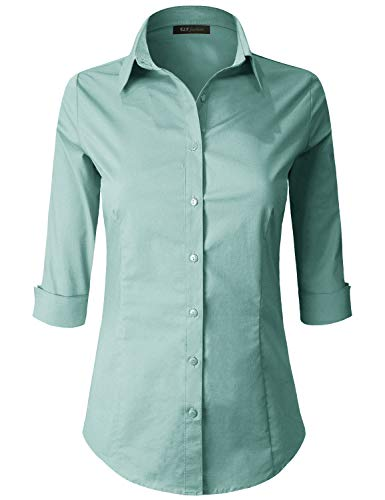 ELF FASHION 3/4 Sleeve Stretchy Button Down Collar Office Formal Casual Shirt Blouse for Women (Size S~3XL) SAGE ()
