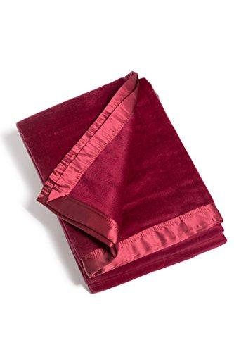 Fishers Finery Micro Velvet Fleece Blanket with 100% Silk Trim (Red, - Trim Brg