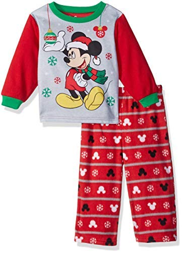 Disney Boys' Toddler Mickey Mouse 2-Piece Fleece Pajama Set, Ornamental red, 4T