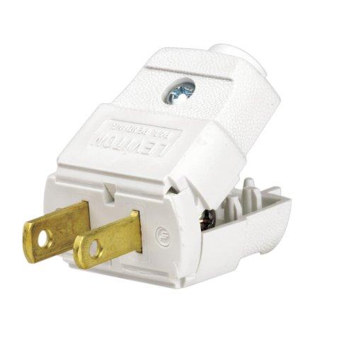 White Leviton 101-WP 2 Wire Plug Light Duty Polarized