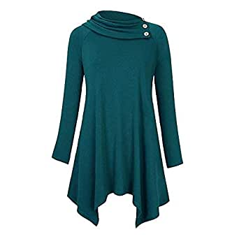 Onefa Women's Fashion Casual Solid Cowl Neck Raglan Long