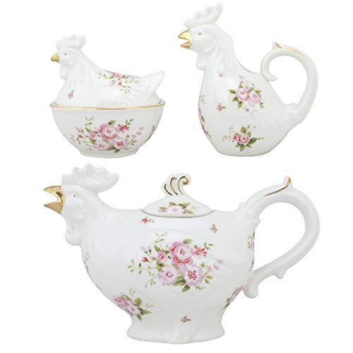 Grace Teaware Fine Porcelain Rooster 22-Ounce 3pc Tea Set (Floral Rose) with Gold ()