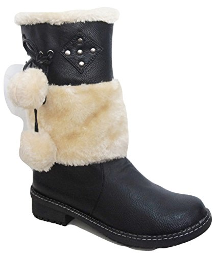 ENVY By Cherag Leather Look Pom Pom Fur Detailed Winter Boots with Faux Fur Lining Black Su3rurd4B