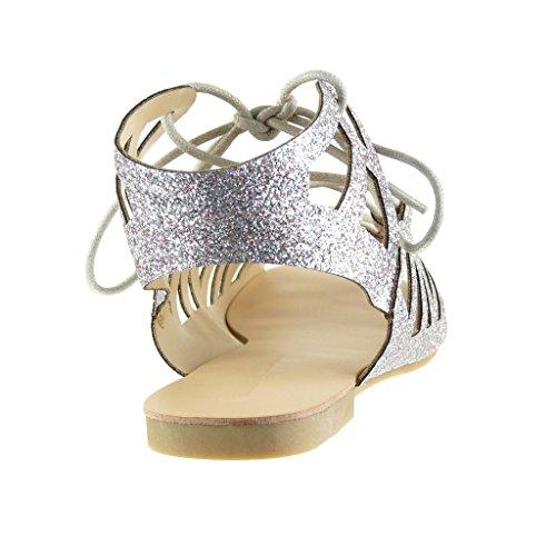 Angkorly - damen Schuhe Sandalen - Römersandalen - Sexy - String Tanga - glitzer - Multi-Zaum Blockabsatz 1 CM - Silber