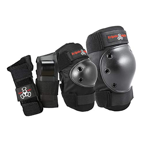Longboard Pad - Triple 8 Saver Series Wristsavers/Kneesavers/Elbowsavers (Black, Large, 3 Pack)