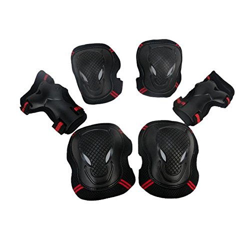 Feccile S-ports & Fit-ness Elbow Knee Wrist All-round Protector Pad Brace for Skating Cycling Riding,6pcs by Feccile S-ports & Fit-ness