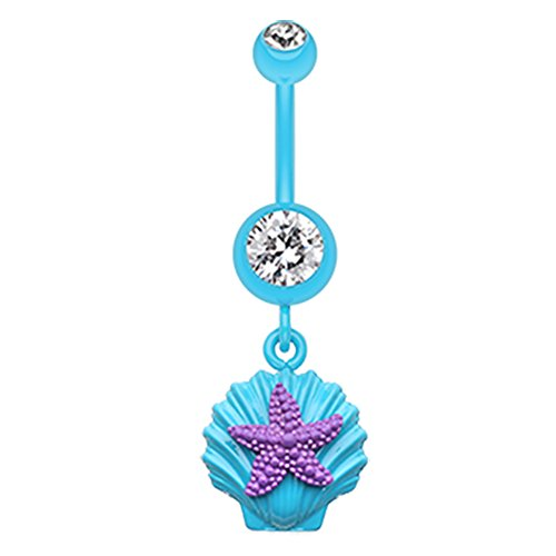 (Inspiration Dezigns 14G Teal Steel Dangle Belly Button Rings Barbell Body Piercing)