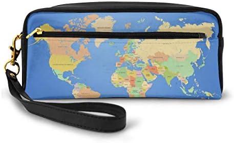 長財布 ポーチ 世界地図 レザーバッグ 化粧バッグ おしゃれ かわいい 小型バッグ ペンケース クラッチポーチ メイクポーチ