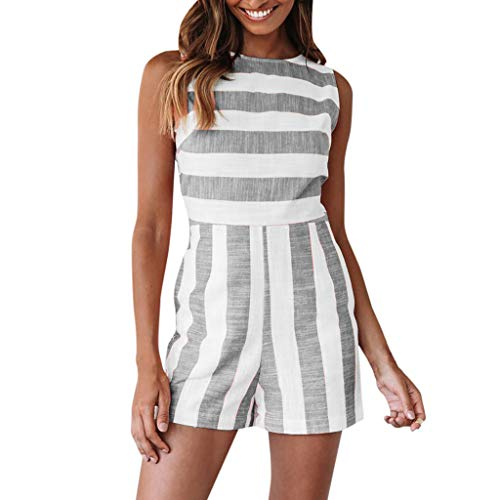 Women Fashion Boho Stripe O-Neck Ladies Casual Sleeveless Short Jumpsuit&ANJUNIE(Gray,S)