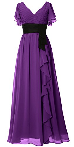 Party Long Women Gown Formal Sleeve Neck Violett V Dress Bridesmaid Mother Short MACloth FnSpSv