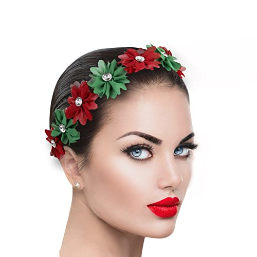 Lux Accessories Xmas Holiday Christmas Headband - Green Red Floral Crown (Headband Green Red)
