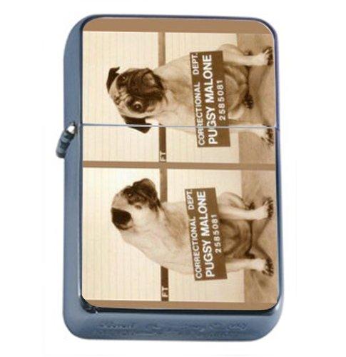 Pug Dog Bulldog Mug Shot Fun Windproof Refillable Flip Top Oil Lighter with Tin Gift Box D-550