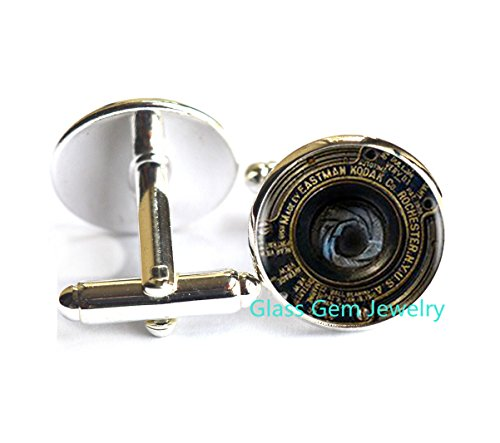 Camera lens Cufflinks , gift for photographer, antique brass Cuff links, glass dome Cuff links, antique brass Cufflinks , camera lens Cufflinks ,Q0257