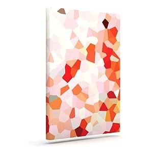 """Kess InHouse Iris Lehnhardt """"Oooh La La"""" Orange Pixel Outdoor Canvas Wall Art, 8 by 10-Inch"""